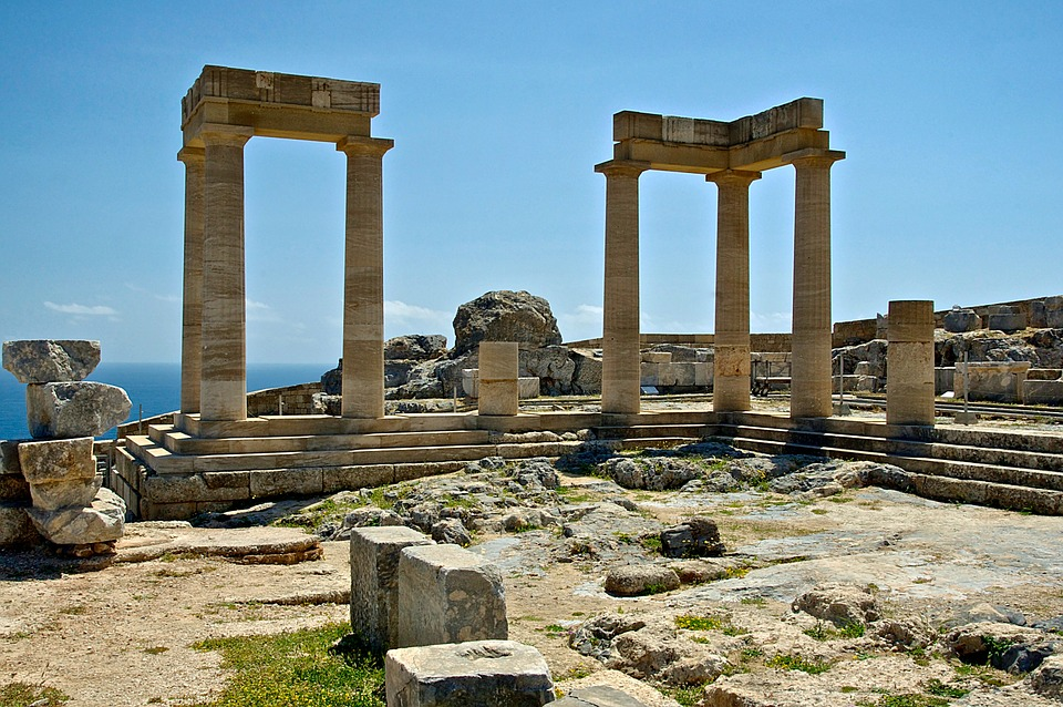 rhodes, greece, temple of athena