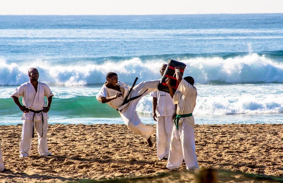 karate, sport, beach
