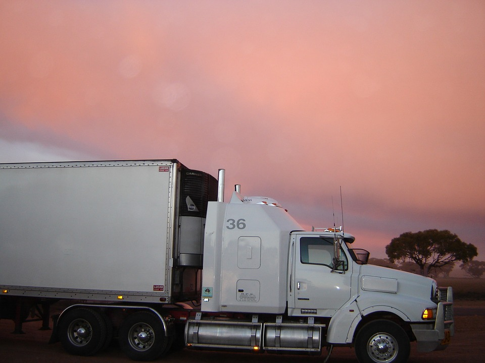 truck, lorry, sunset