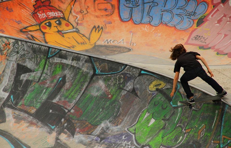 skateboard, child, graffiti