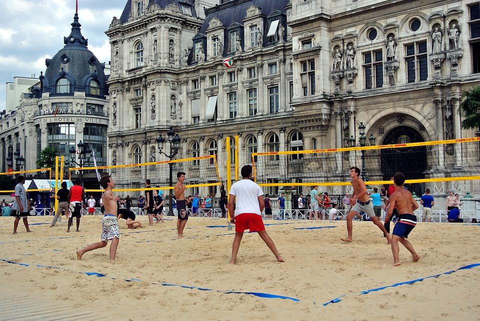 volleyball, beach volleyball, urban