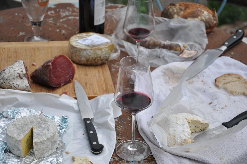picnic, cheese, wine