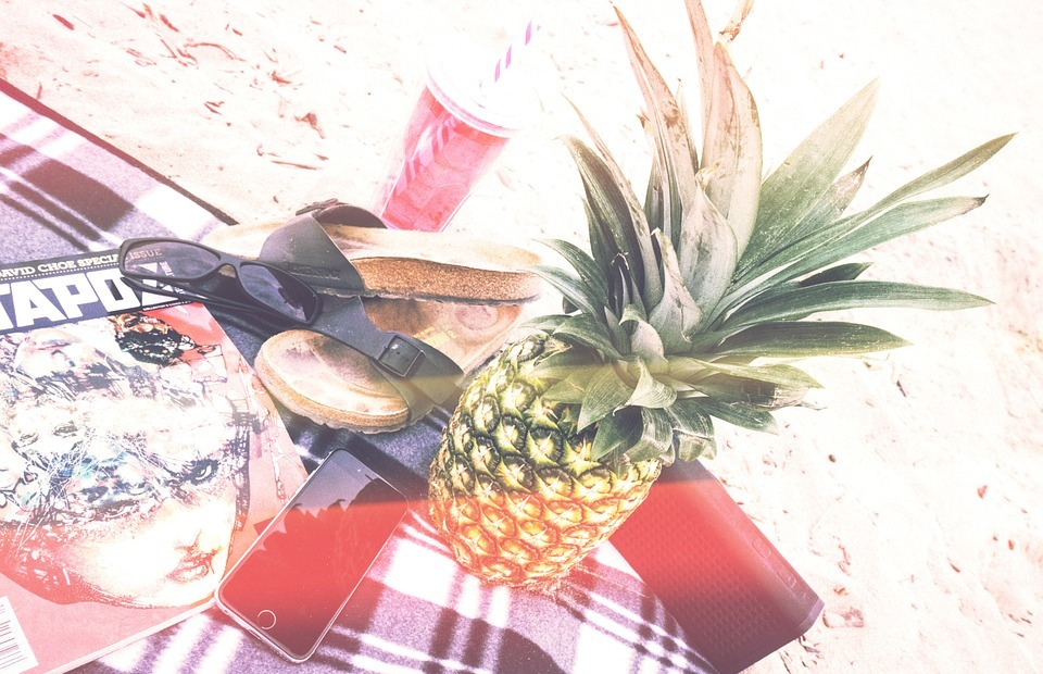 picnic, beach, pineapple