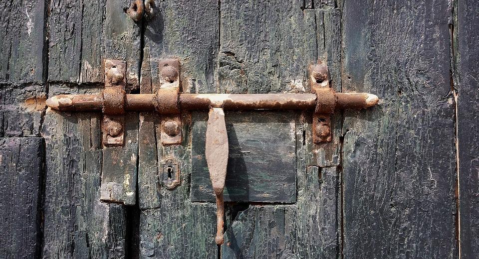 lock, door, old door