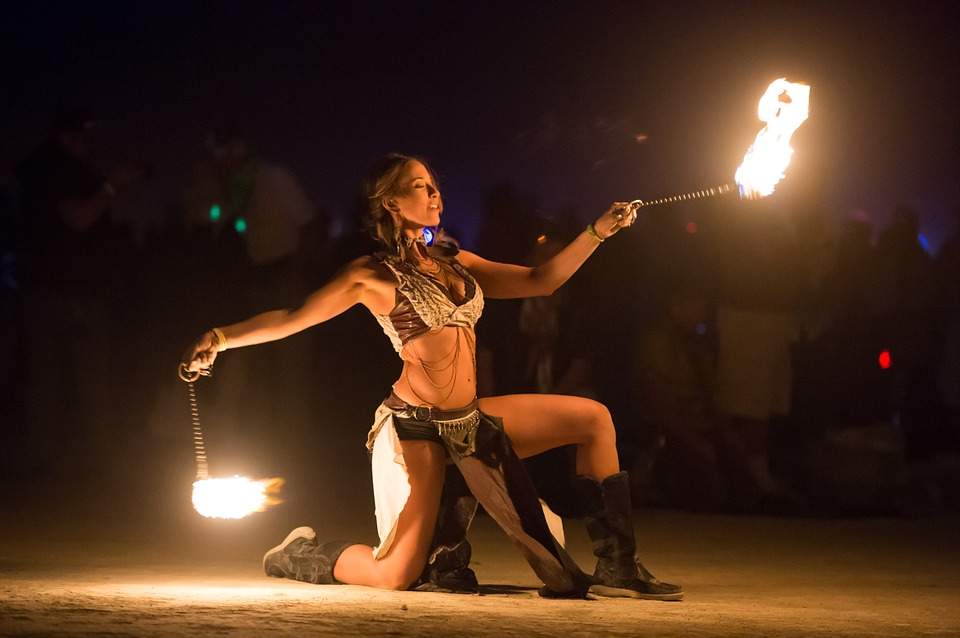 fire dancer, fire, artists