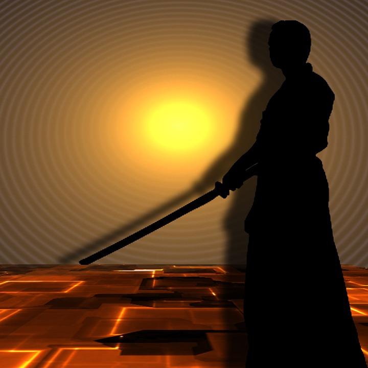 martial arts, samurai, silhuetten