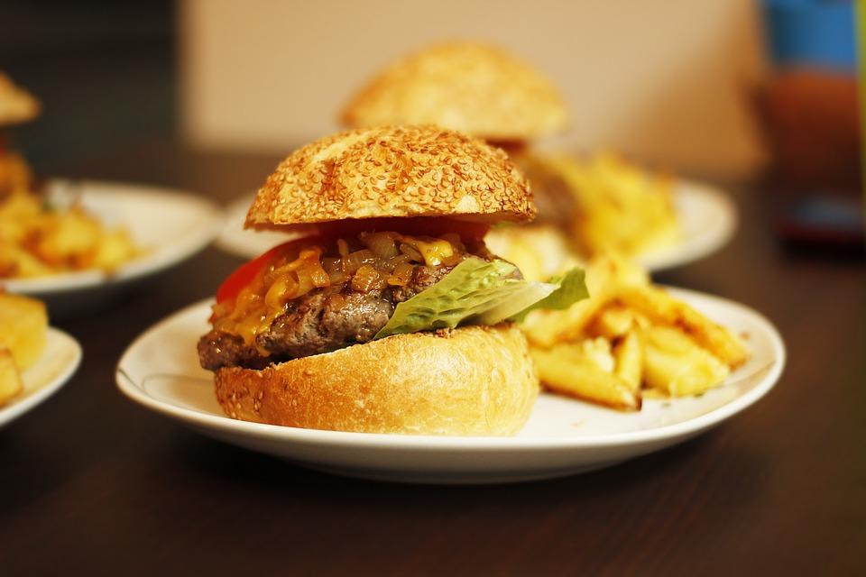 hamburger, fast, lettuce