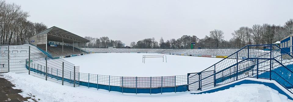 stadium, football pitch, snow