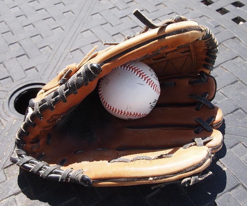 baseball glove, ball, sports