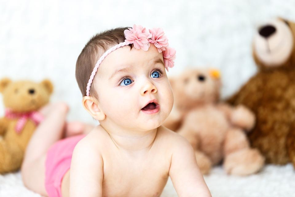 baby, girl, teddy bears