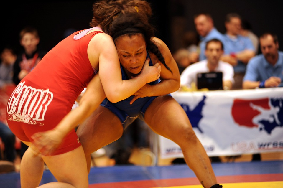 wrestling, athletes, match