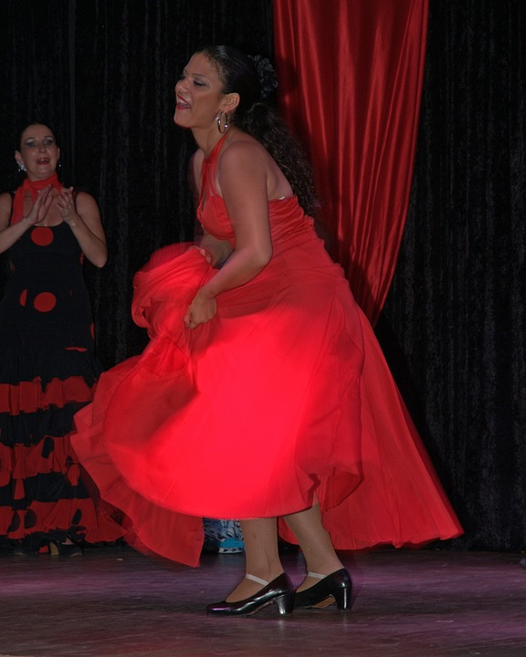 dancers, woman, red