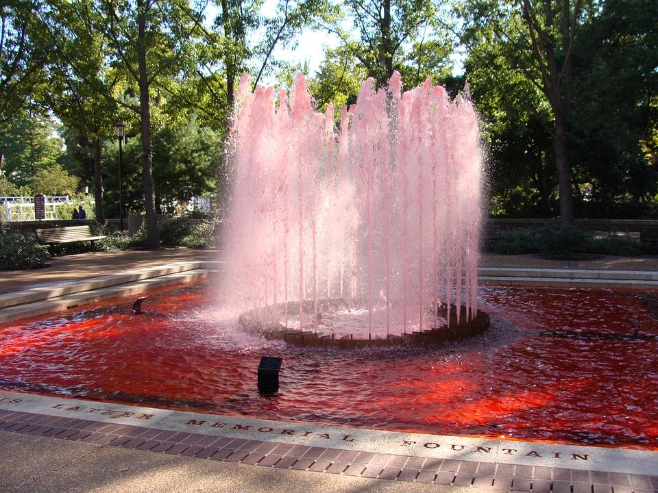 fountain, red fountain, saint louis
