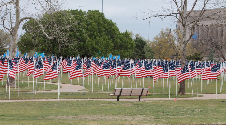 memorial, flags, united states