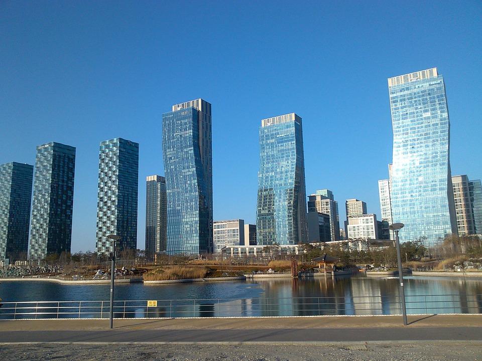 korea, building, incheon songdo new city