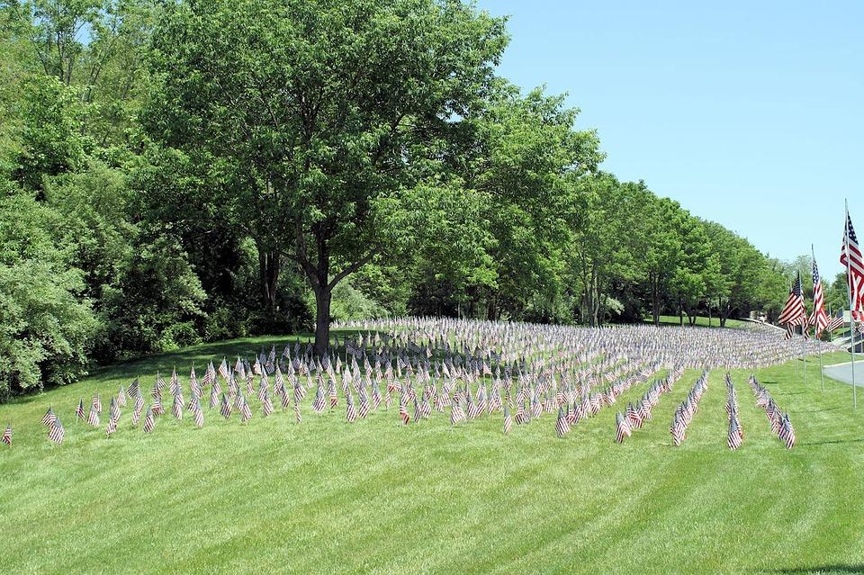 flags, america, memorial