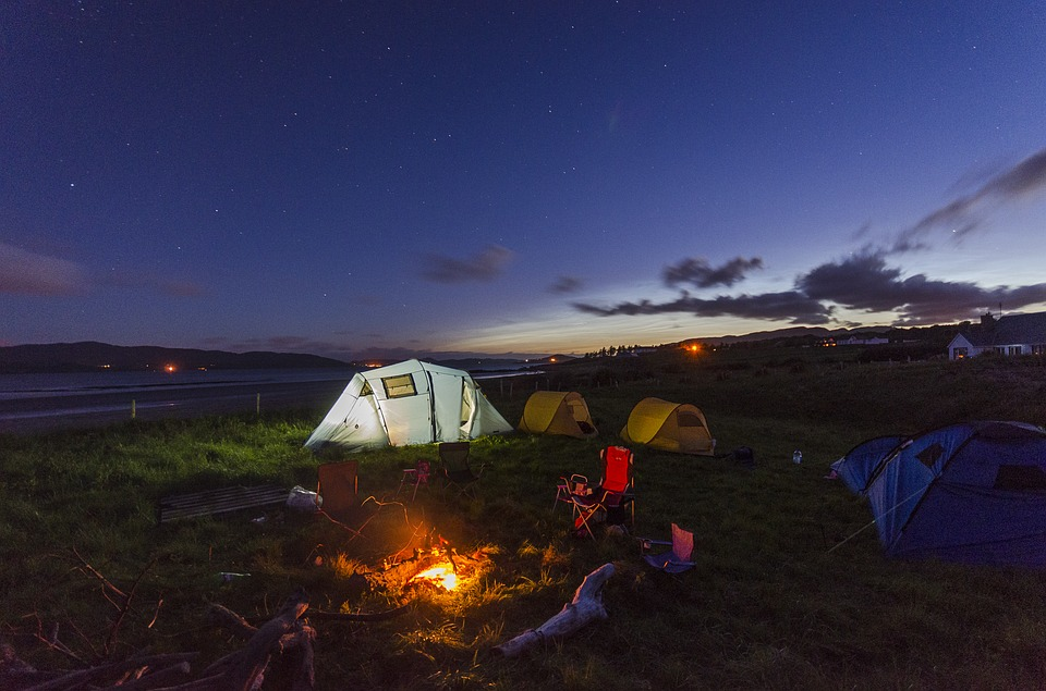 camping, tent, fire