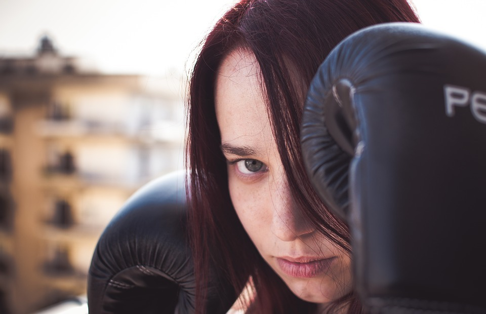 people, woman, boxing