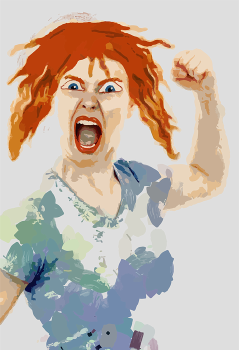 angry, female, fist