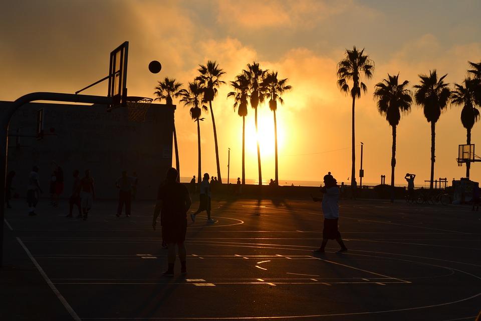 sunset, basketball, basketball court