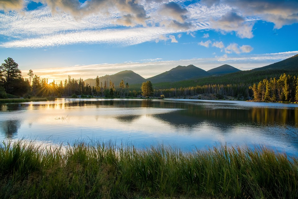 lake, reflection, mountains