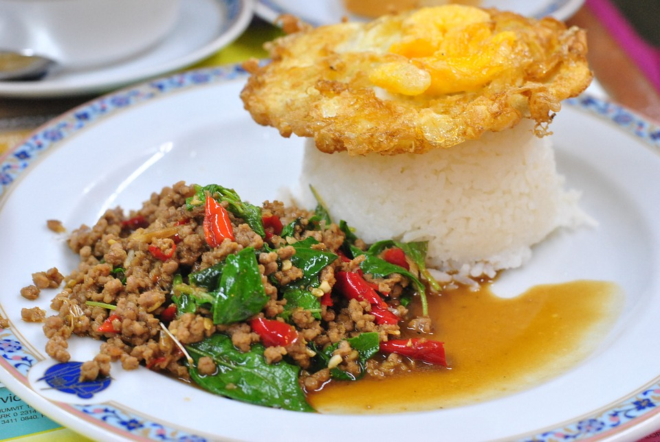 the pork fried rice made, thailand food, dish