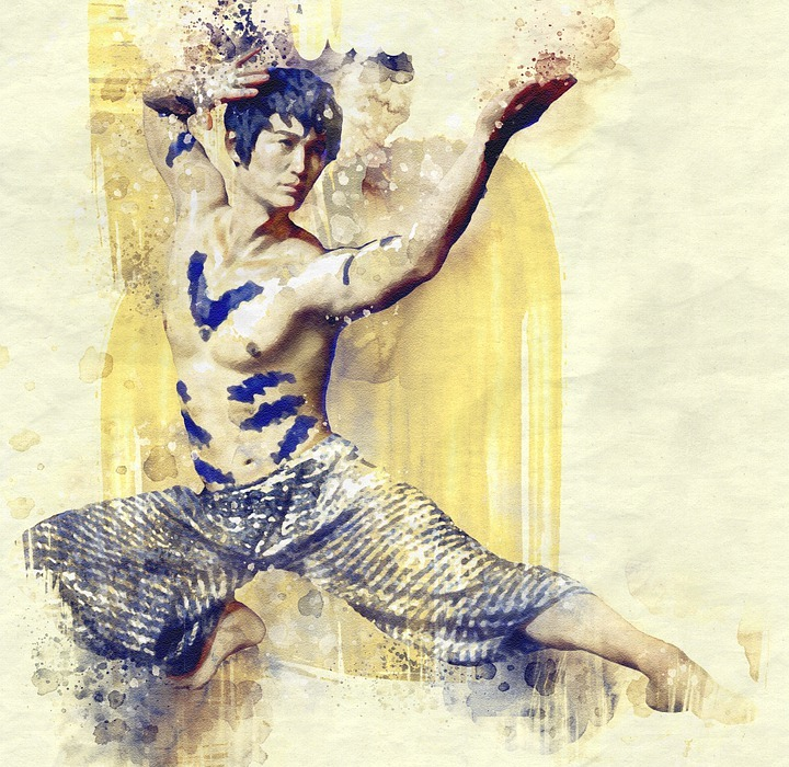 asian, martial arts, body painting