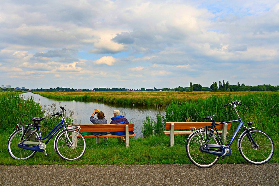 couple, bench, sitting