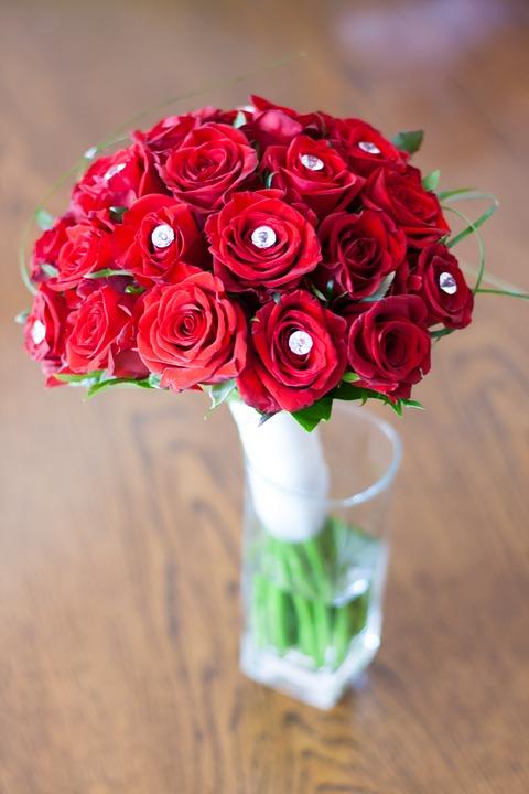bridal, bouquet, roses