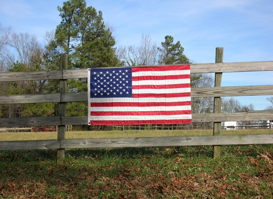 american, flag, fence