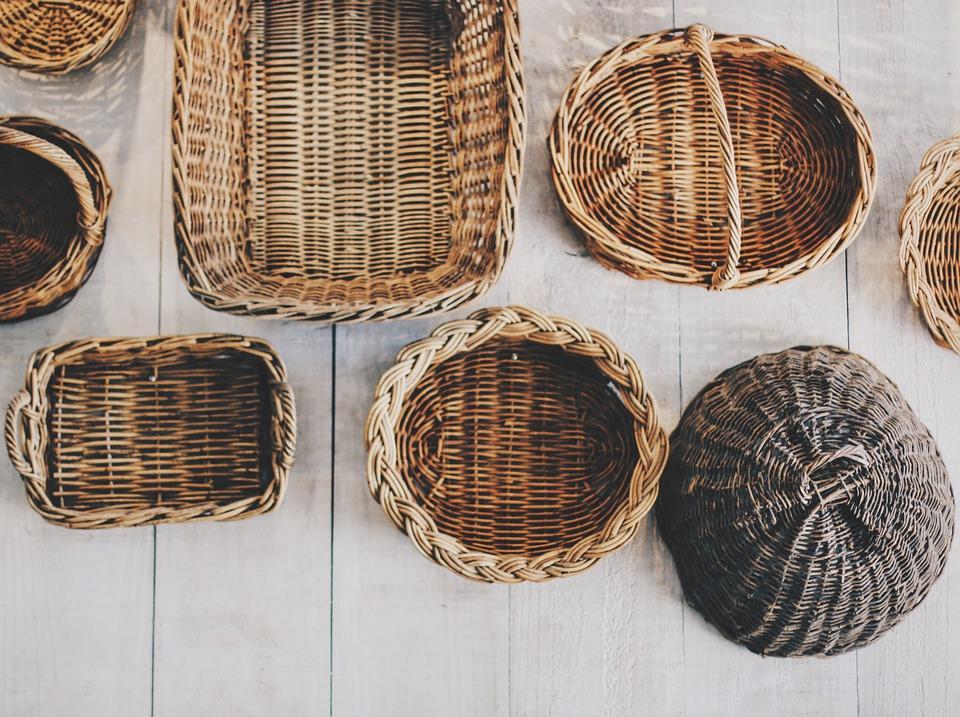 baskets, picnic basket, wicker