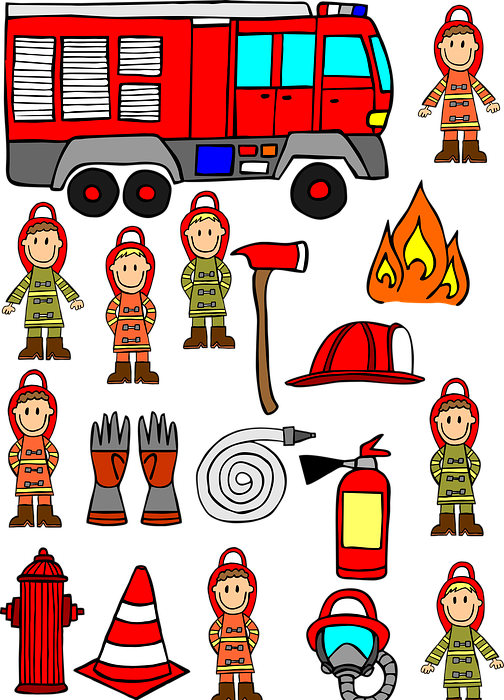 firemen, hand drawn, fire engine car