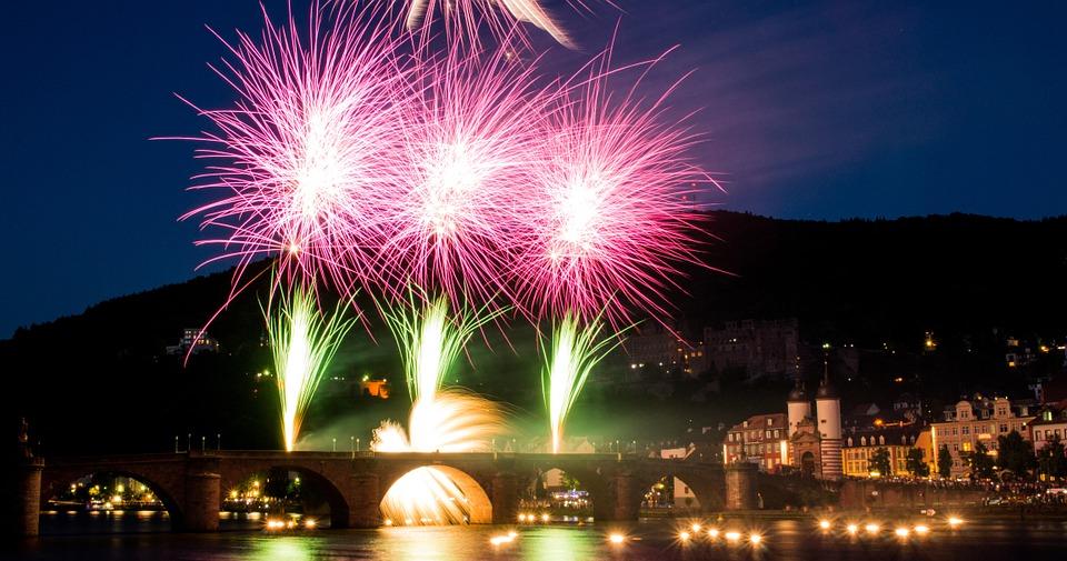 fireworks, heidelberg, neckar