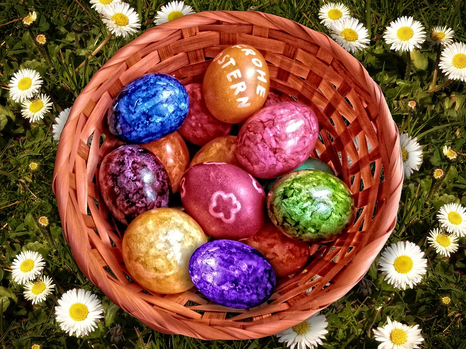 easter nest, easter, easter eggs