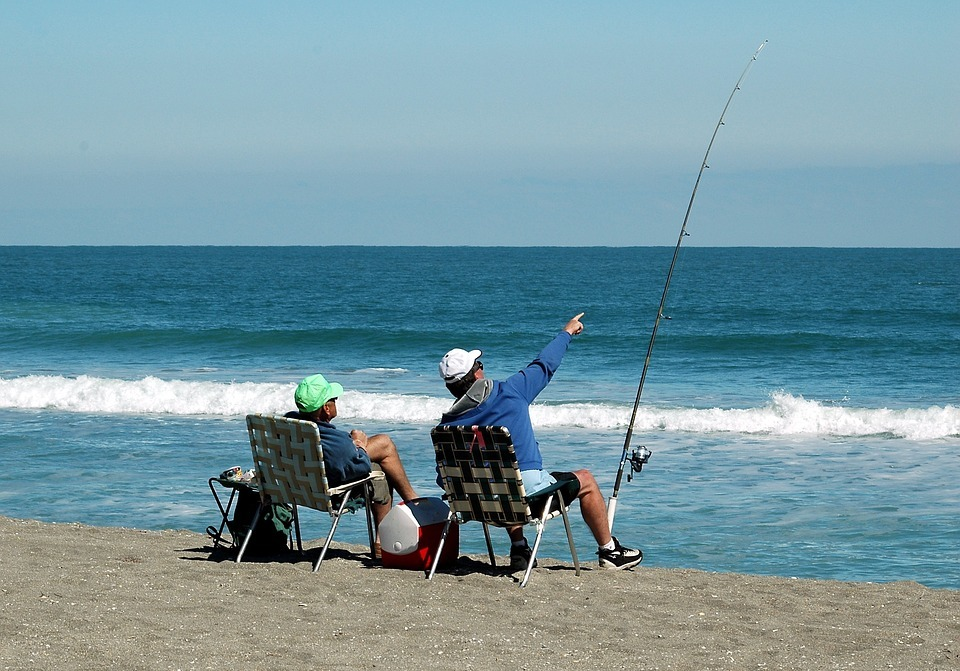 surf fishing, fishermen, relaxation