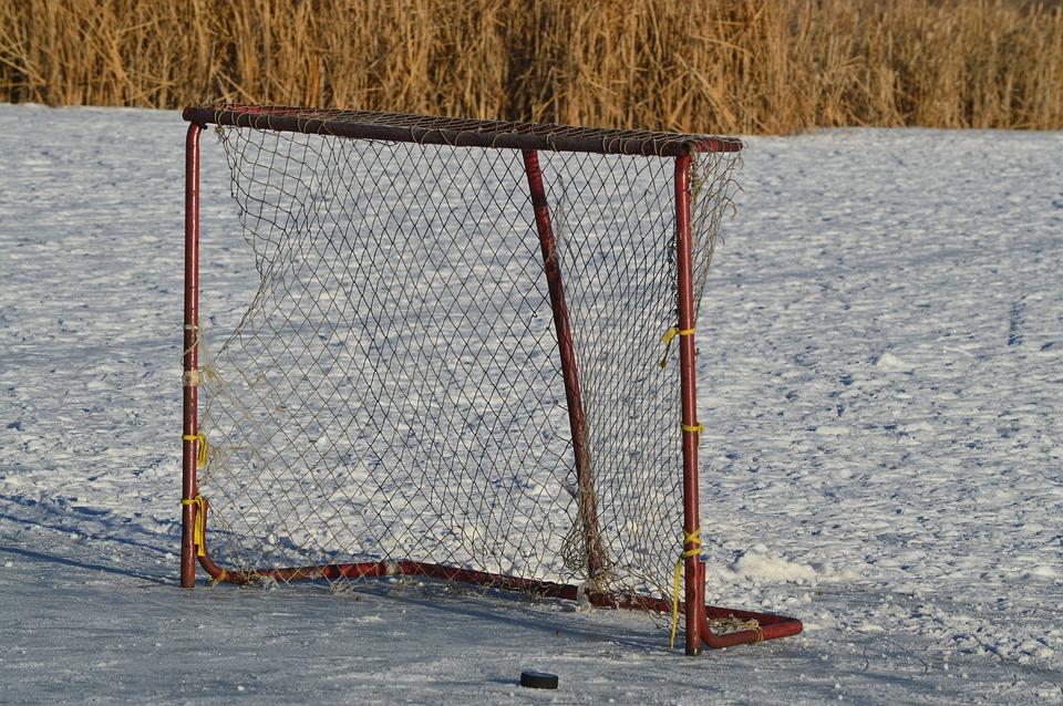 hockey net, outdoor, puck