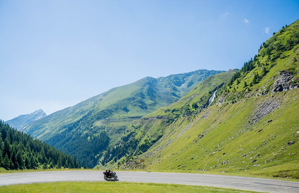 mountains, motorcycle, ride