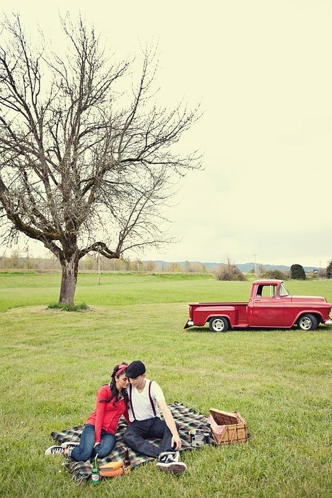 picnic, couple, love