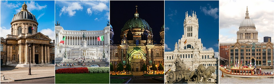 europe, collage, buildings