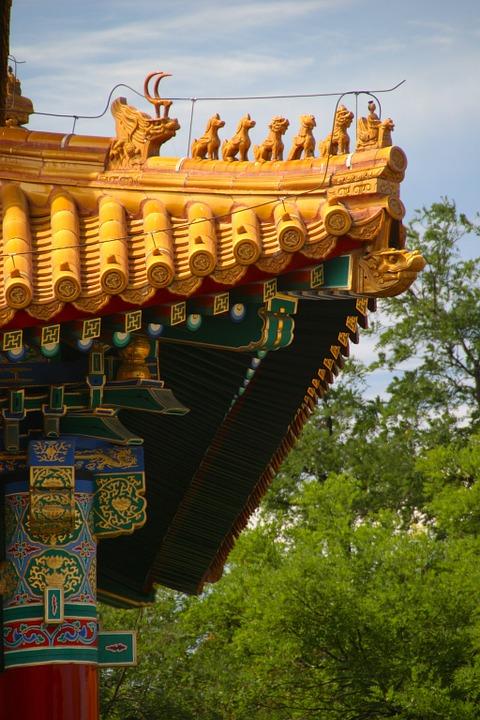 roof, china, dragon