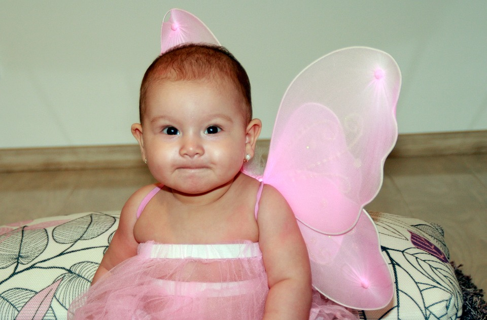 baby, girl, butterfly
