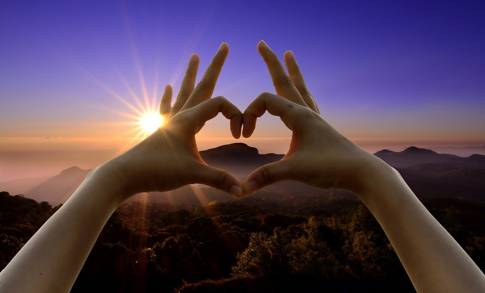 love sign, hands, sunset