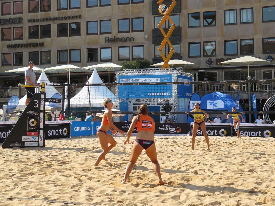 volleyball, beach volleyball, city