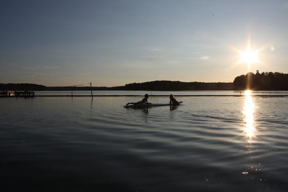 lake, kayaks, landscape