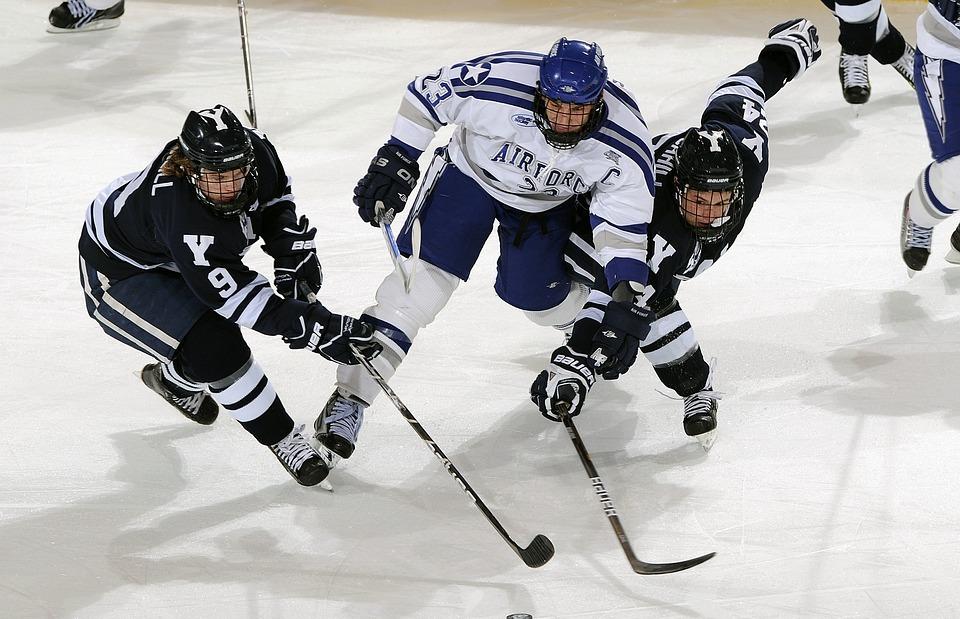 ice hockey, puck, players