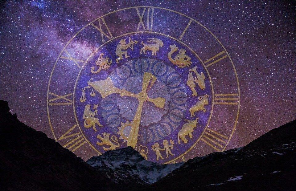 starry sky, zodiac sign, clock