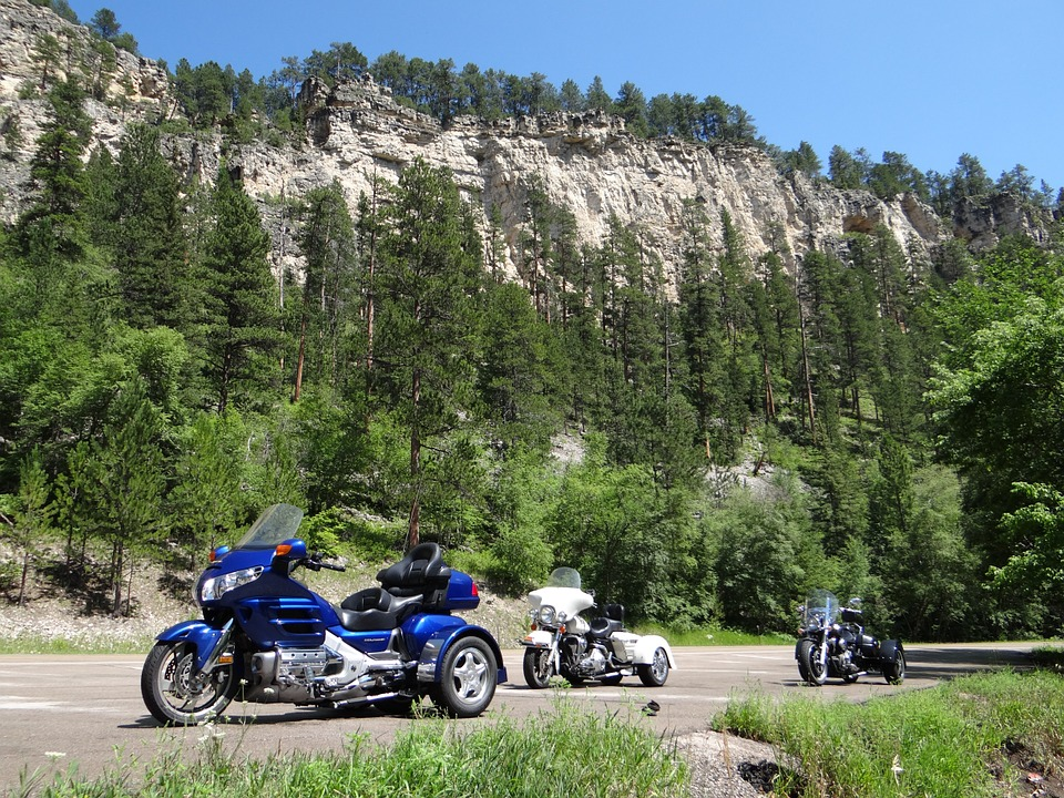 mountain, motorcycles, blue sky