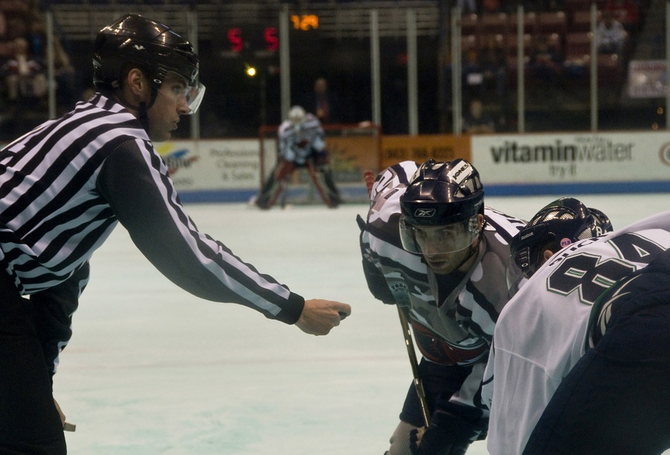 ice hockey, referee, drop