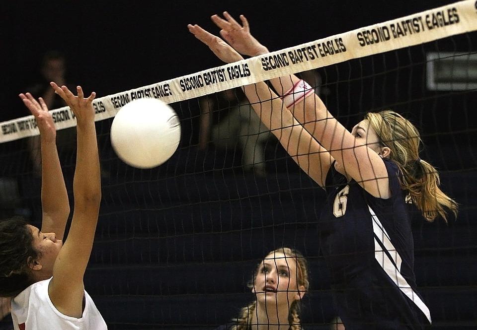 volleyball, blocked shot, net