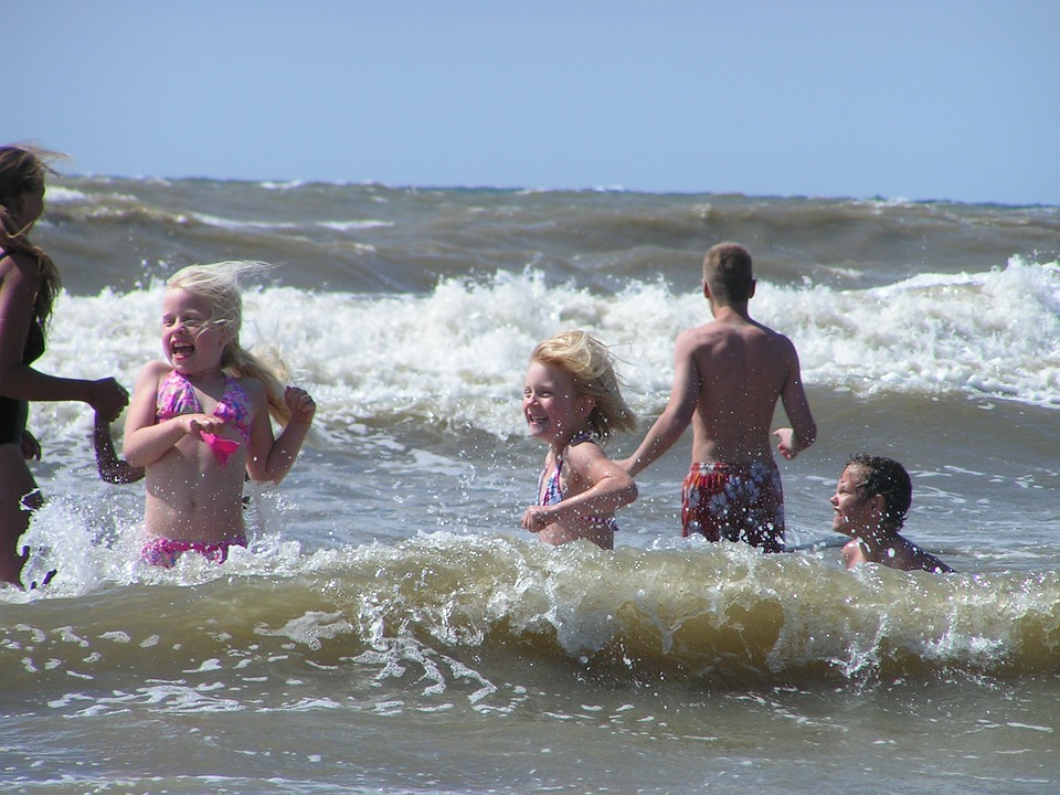 beach, children, summer